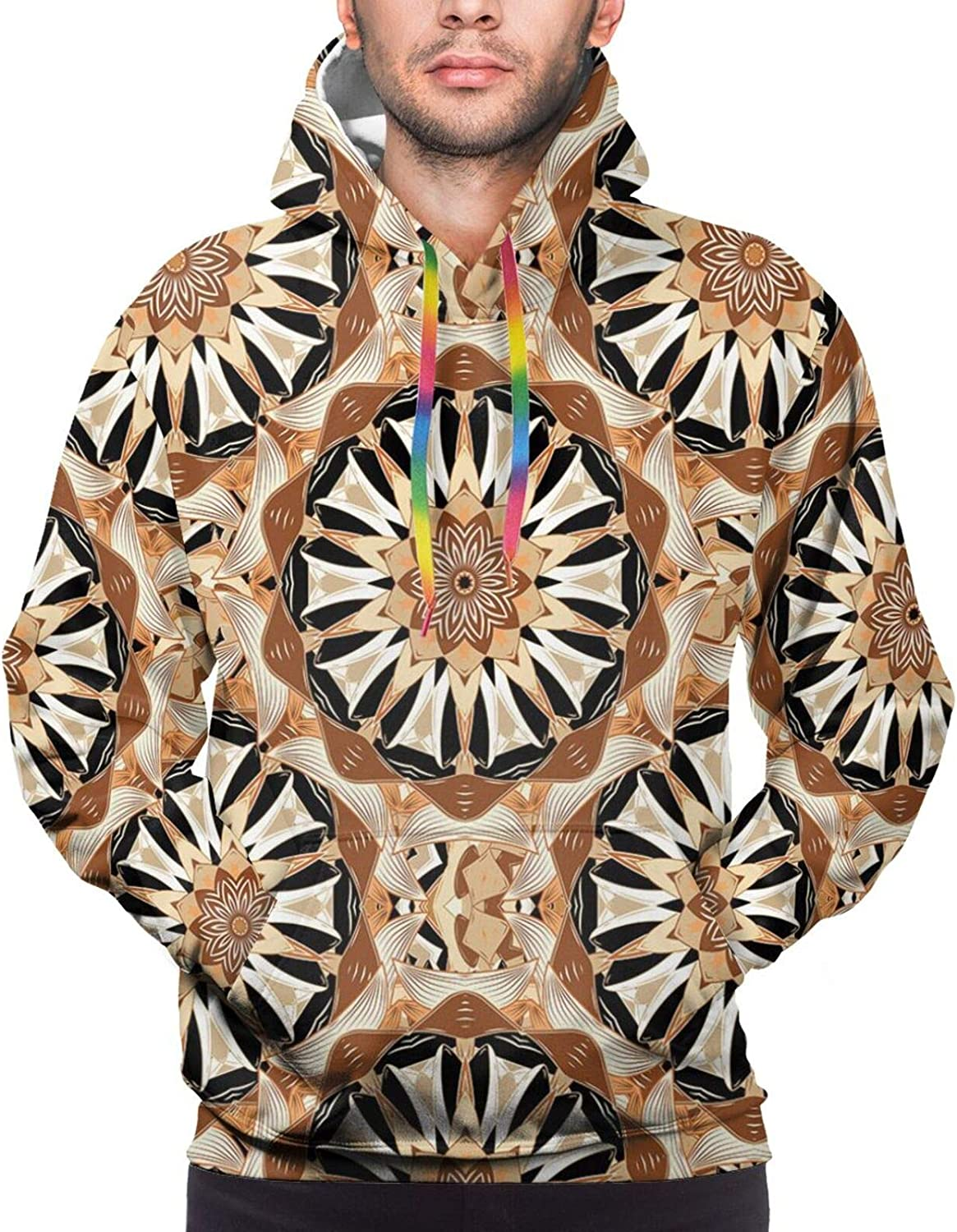 Men's Hoodies Sweatshirts,Oriental Style Continuous Forest Pattern with Stylized Branches Leaves and Birds