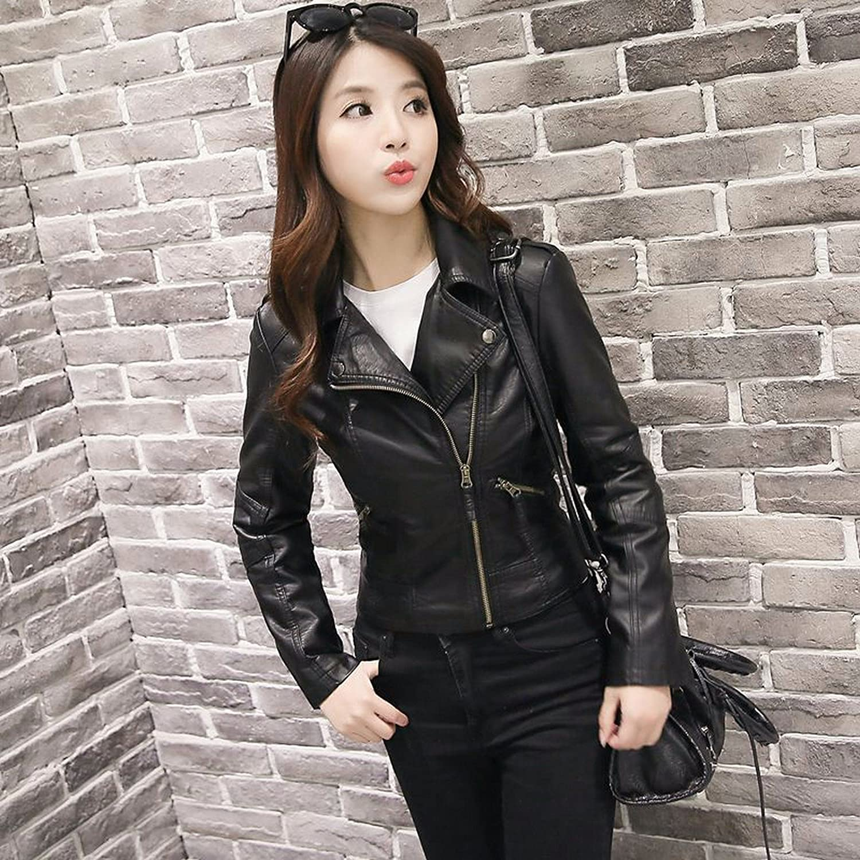 Latest item OLQMY Korean lady leather jacket coat M Pu motorcycle black Industry No. 1