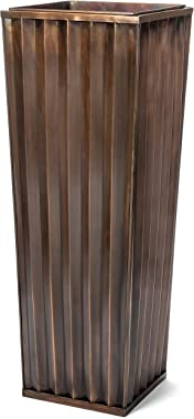 H Potter Tall Outdoor Indoor Planter Patio Deck Flower Ribbed Garden Antique Copper Finish Large