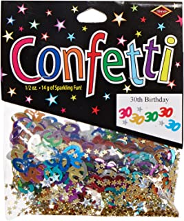Beistle 30 & Stars Confetti Birthday Party Supplies, Tableware Decorations, 0.5 Ounces, Multicolored