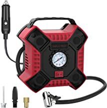 INCLAKE 12V DC Tire Inflator, Portable Air Compressor Pump with Analog Pressure Gauge and LED Light for Car, Bicycle, Motorcycle, Basketball, and Other Inflatables, Red