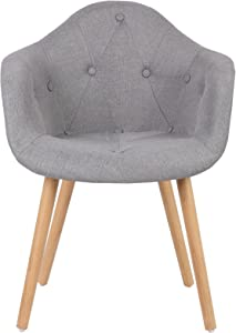 Woltu 2X Sillas de Comedor Juego de 2 Muebles Cocina Diseño con Respaldo Silla de Cocina Tela, Madera Gris BH55gr-2