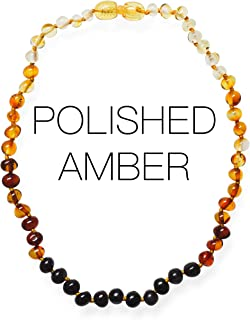 Meraki Amber Necklace - Polished Baroque Baltic Amber Necklace | Alternative Pain Relief - Certified Genuine Baltic Amber Necklace | Rainbow Color (11.5 Inches)