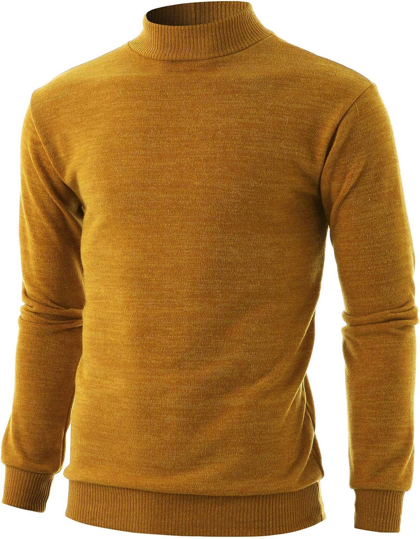 GIVON Mens Slim Fit Long Sleeve Mock Neck 5% OFF oft Hem Special sale item Cotton Ribbed
