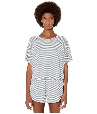 Eberjey Sadie Stripes The Varsity Short Sleeve Top (Oxford Blue/Ivory) Women