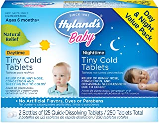 Infant and Baby Cold Medicine, Hyland's Baby Tiny Cold Tablets, Day & Night Value Pack, Decongestant and Cough Relief, 250...