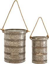 Deco 79 Metal Ring Galvanized Lantern, 12 by 10-Inch, Grey, Set of 2