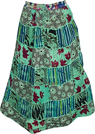 Mogul Interior Womens Green Skirt Printed Cotton Patchwork Hippie Retro Skirts M