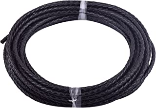 KONMAY 5 Yards 3.0mm Black Genuine Leather Braided Bolo Leather Cord