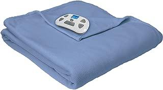 Serta Heated Electric Fleece Blanket with Programmable Digital Controller, Twin, Slate Blue Model 0917