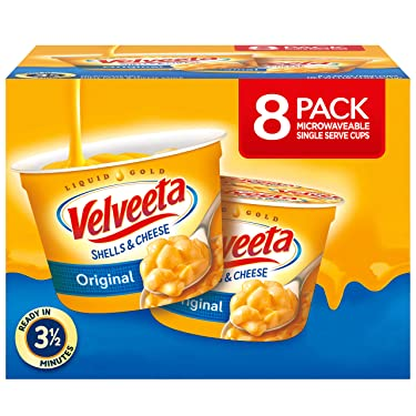 VELVEETA Original Microwavable Shells & Cheese Cups, 8 Count Box   Single Serving Cups with Delicious Velveeta Cheese Sauce   Convenient & Ready in 3.5 Minutes