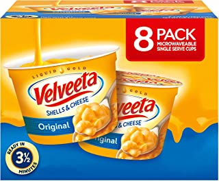 VELVEETA Original Microwavable Shells & Cheese Cups, 8 Count Box | Single Serving Cups with Delicious Velveeta Cheese Sauce | Convenient & Ready in 3.5 Minutes