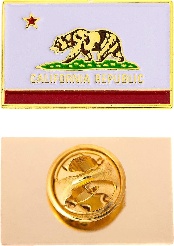 Desert Cactus California CA Cal State Flag Lapel Enamel Made of Metal Souvenir Hat Men Women Patriotic (Rectangle Pin)