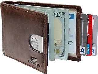 SERMAN BRANDS RFID Blocking Slim Bifold Genuine Leather Minimalist Front Pocket Wallets for Men with Money Clip