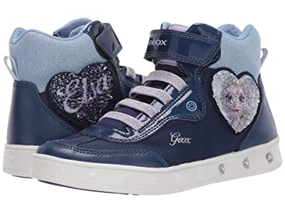 Geox Kids Frozen Skylin 6 (Little Kid/Big Kid) (Navy/Lilac) Girl