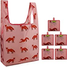 Fox Groceries Bags Reusable Bulk 5 Pack Foldable with Attached Pouch Ripstop Nylon Hold 50 Lbs Cute Animal Pattern Reusable Bags for Shopping (Pink)