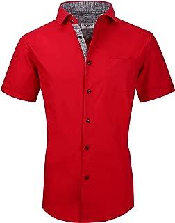 Mens Dress Shirts Casual Regular Fit Short Sleeve Men Shirt