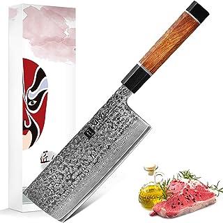 XINZUO Acier Damas Couperet Couteau 17.3cm Couteau du Chef Chinois, Acier à Haute Teneur en Carbone Couteaux de Cuisine Pr...