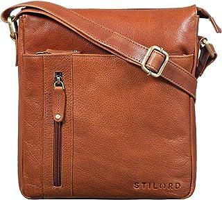"""STILORD Brady"""" Messenger Bag Leder Braun klein Umhängetasche Schultertasche für iPad 10,1 Zoll Tabletttasche Echtes Leder"""