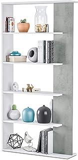 Habitdesign 0L2252A - Estantería 5 baldas Librería Comedor Salon Color Blanco Artik y Gris Cemento Modelo Alida Medida...