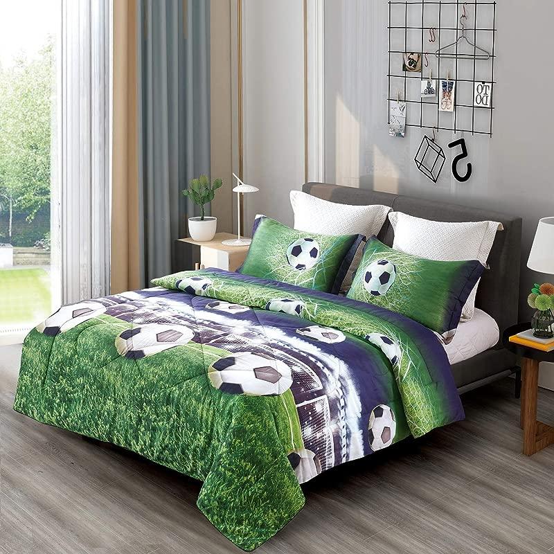 DECMAY Special 3D Soccer Bedding Twin Football Comforter Set For Kids Cool Duvet Bedroom Decor Bed Set 3PCS 1 Comforter And 2 Pillow Shams