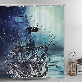 "Ikfashoni Nautical Octopus Shower Curtain, Pirate Ship Bathroom Curtain with 12 Hooks, Waterproof Fabric Shower Curtain for Bathroom, 69"" x70"" Inches"