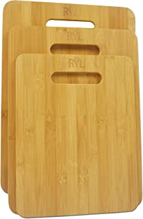 Radiate Your Love 3 Piece Bamboo Cutting Board Set, Eco Friendly Wooden Trays For Veggie Prep, Serve Bread, Crackers & Cheese
