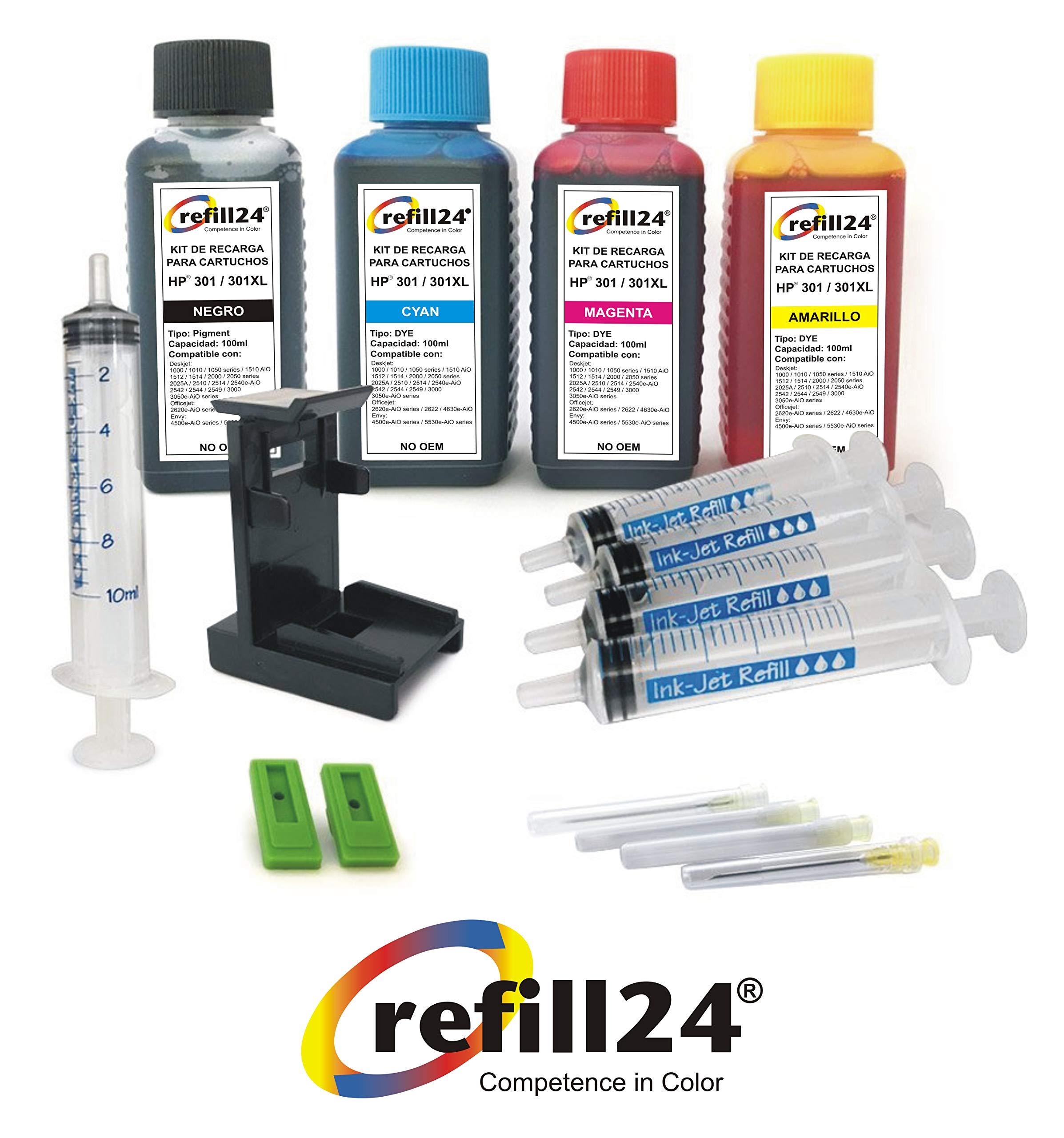 Kit de Recarga para Cartuchos de Tinta HP 301, 301 XL Negro y Color, Incluye Clip y Accesorios + 400 ML Tinta: Amazon.es: Electrónica