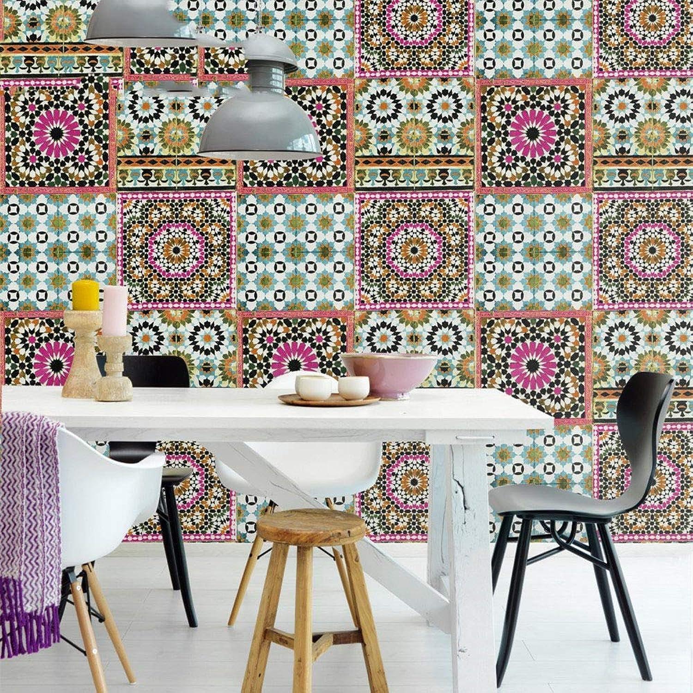 Wallpaper Pvc Material Sub Ethnic Pop Style Imitation Tile Living