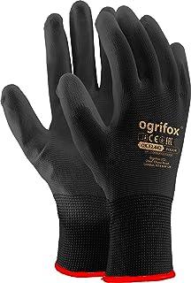 24 pairs of PU black coated nylon work gloves, garden, builders, mechanic - Black -