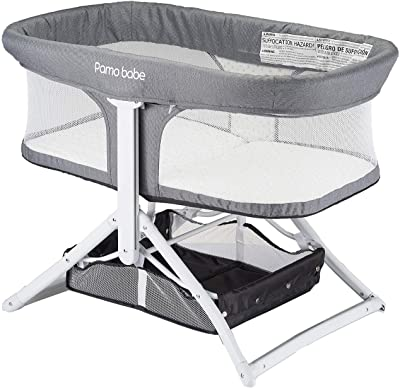 2in1 Bassinet Quick Foldable Travel Crib Portable Rocking Bassinet (White)