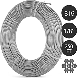 Happybuy 0.125Inch T316 Stainless Steel Cable 7x7 Strand Winch Rope Aircraft Steel Cable StainlessSteelWire Rope Cable 250FT (0.125Inch 250ft T316)