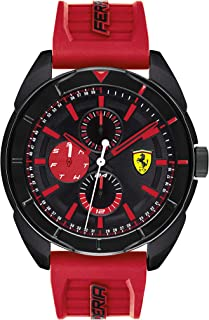 Ferrari Men's Forza Quartz Black IP and Silicone Strap Casual Watch, Color: Red (Model: 830576)