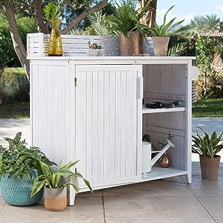 Coastal Whitewash Finish Wood Outdoor Potting Bench Gardening Planting Workstation with Storage Cabinet Buffet Server