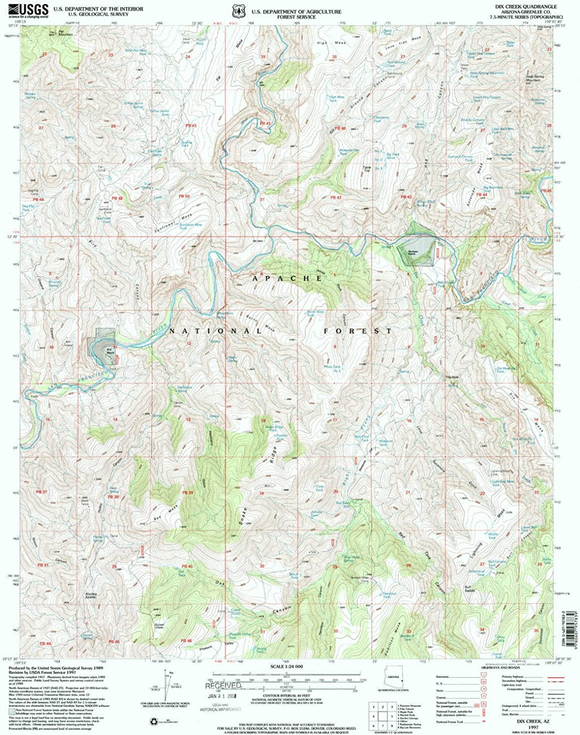 Dix Creek AZ topo map, 1 24000 Scale, 7.5 X 7.5 Minute, Historical, 1997, Updated 2000, 26.8 x 21.6 in