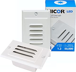 NICOR Lighting LED Step Light with Horizontal and Vertical Faceplate, White (STP-10-120-WH)