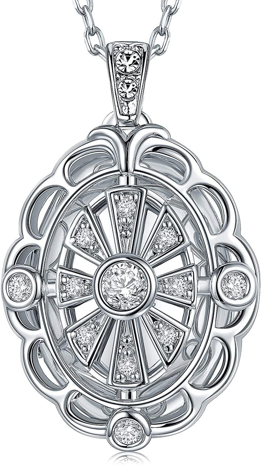 Gothic Photo Locket Necklace Larger Than A $1 Coin Is Handmade With Platinum Plated Jewelry Pendant For Women 18 Inch Mariner Chain