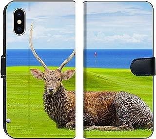 Liili Premium iPhone XS MAX Flip Micro Fabric Wallet Case Chital Deer Spotted Deer Axis Deer on Green Image ID 39491092