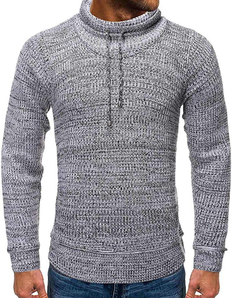 STORTO Mens Low price Knitted Sweaters Solid Collars Drawstring Lon New Shipping Free Middle