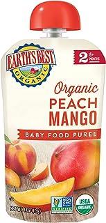 Earth's Best 2段 婴孩食品,桃和芒果泥,4盎司(113克)(12包)(包装可能会有所不同)