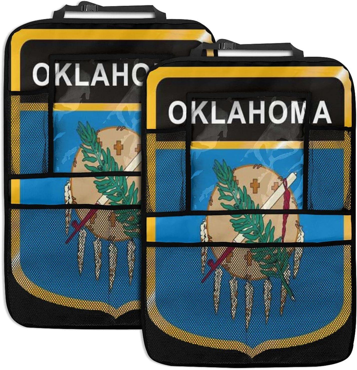 Oklahoma Brand Cheap Sale Venue Flag latest Crest Durable Car Back Organizer Muti-Pocket Seat