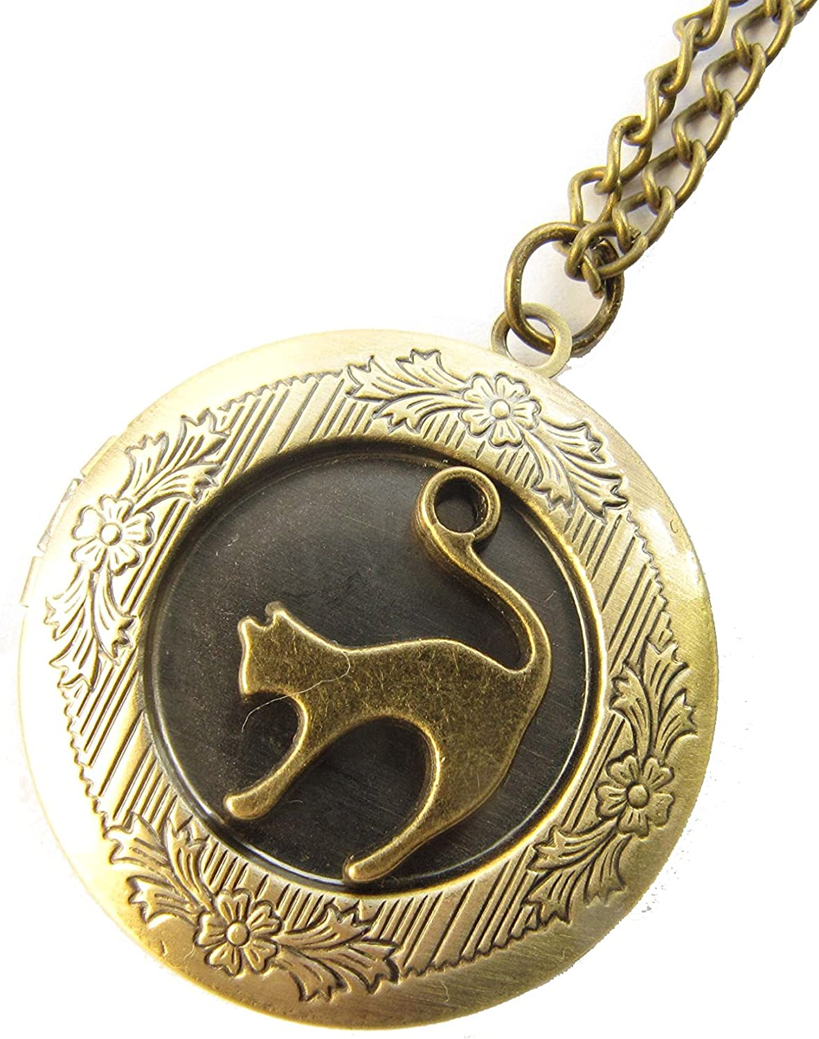 Cat Locket Pet cat C Bronze Easy-to-use Necklace Max 74% OFF Jewelry