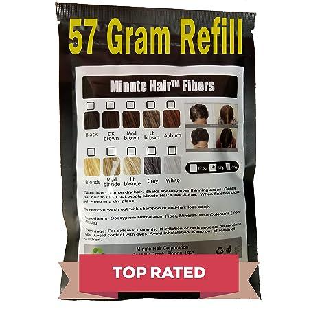 Hair Building Fibers Black 57 Grams (2 oz) Minute Hair Refill Hair Loss Concealer. Minute Hair Fibers are compatible with all hair fiber applicator bottles (Black)