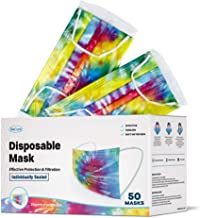 WeCare Disposable Face Mask Individually Wrapped - 50 Pack, Tie Dye Face Masks - Soft on Skin - 3 Ply Protectors with Elas...