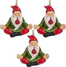 Design Toscano QM917010 Zen Gnome Holiday Ornament: Set of 3 Multi/Color