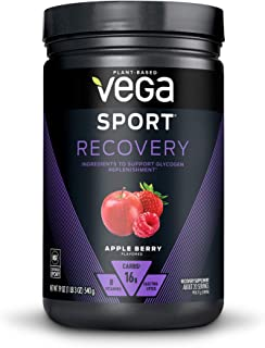 Vega Sport Recovery, Apple Berry - Post Workout Recovery Drink Mix with Electrolytes, Carbohydrates, B-Vitamins and Protei...