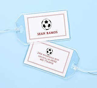 Personalized Soccer ID Tags for Backpacks, Custom Kids Tags for Childrens Allergy, Lunchbox, Medical Alert, Dismissal, Transportation, Diaper Bag, Baby & other Info Reminders