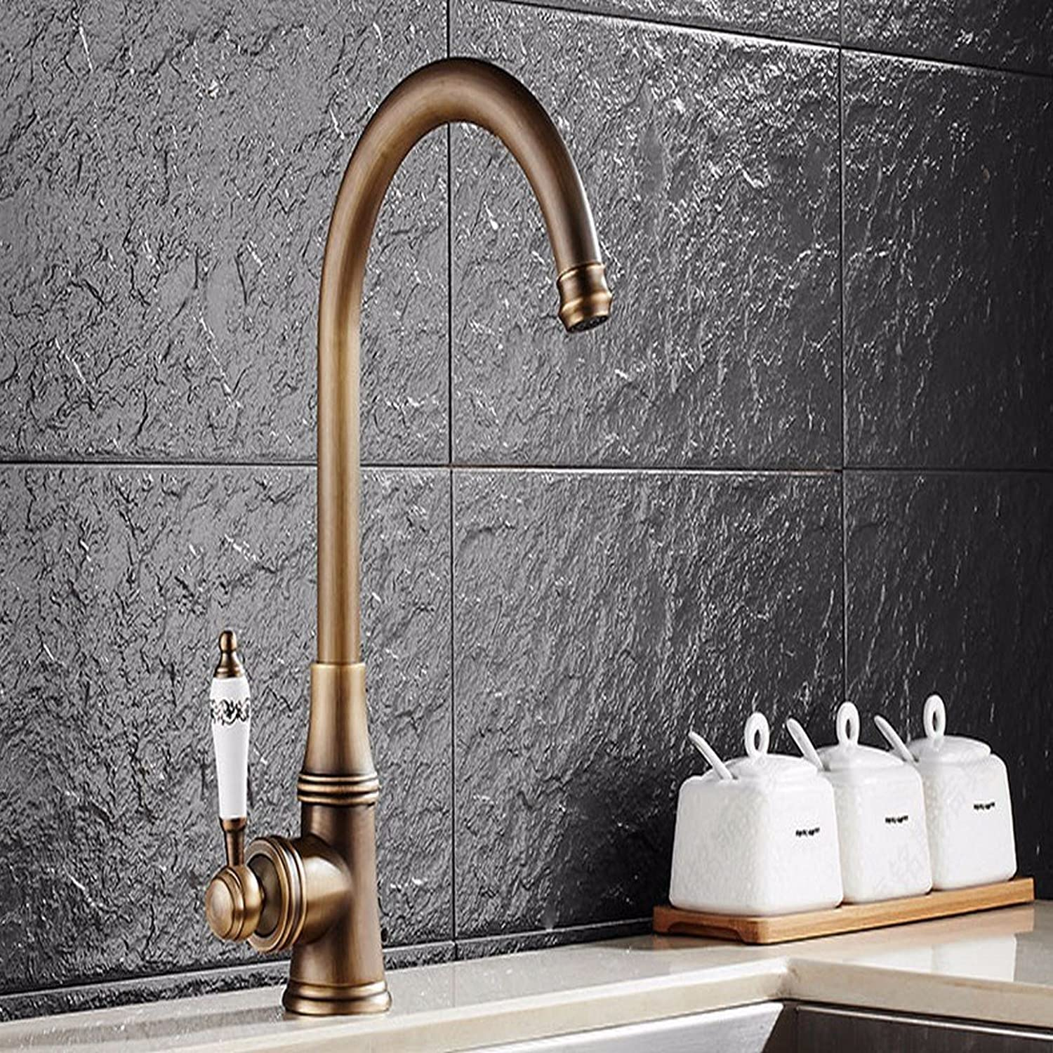 SHsm Antique Single Single Hole Hot And Cold Water Kitchen Faucet Swivel Head