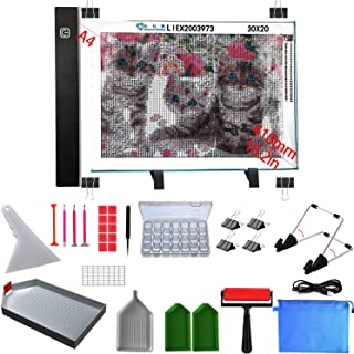 Diamond Painting Light Pad, Ultra-Thin Stepless Dimmable A4 LED Light Box, Diamond Art Light Board with Diamond Painting Tools and Accessories,A Complete Set of Diamond Art Tools