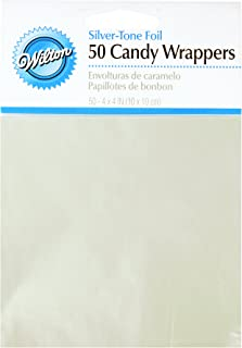 Wilton Foil Candy Wrappers, 4 by 4-Inch, Silver, 50/Pack